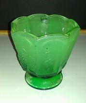 """VTG Frosted Green Flashed Panelled Compote Grape, Leaf & Vine Pattern 5""""... - $2.96"""