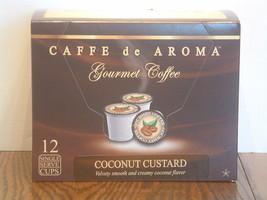 Caffe de Aroma Coconut Custard flavored 12 Single Serve K-Cups OK for 2.0 - $10.45