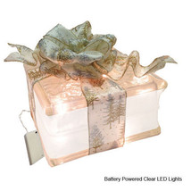 "LED Lighted Glass Block with 4"" White Border - Gold and Silver Pine Tree... - $39.55"