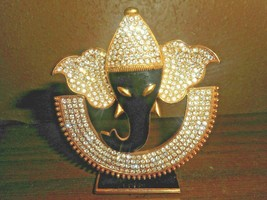 Gold Casted Metal Base with Heavily Rhinestones and Black Enamel ELEPHAN... - $19.79