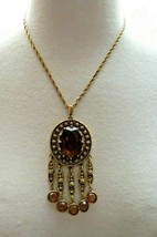 "Goldette Bezel Set Purple Glass Pendant Necklace 18"" Chain Gold Antiqued... - $69.29"
