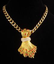 Signed BiG Brooch - jbk necklace  Jackie Bouvier Kennedy gold rhinestone... - $245.00