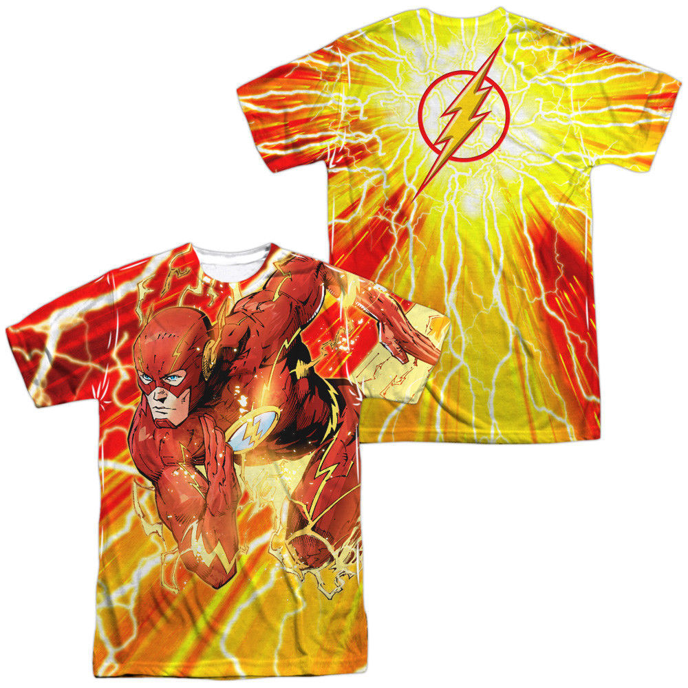 Primary image for DC Justice League JLA the Flash Lightning Dash Sublimation Front Back T-shirt