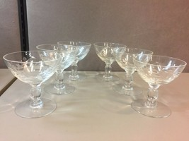 6 Vintage Clear Glass With Leaf Etching Compote or Champagne Glasses - $49.49