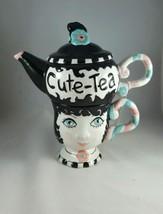 Peggy Turchette Tea Design CUTE-TEA Tea for One Set Tea set pot on Top C... - $30.86