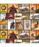 Indian Vintage Signs w/Black B/G-Riley Blake-BTY-Motorcycles-Man-Boy-Fun - $12.95