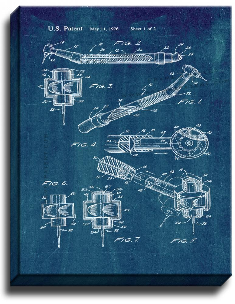 Primary image for Disposable Dental Drill Assembly Patent Print Midnight Blue on Canvas