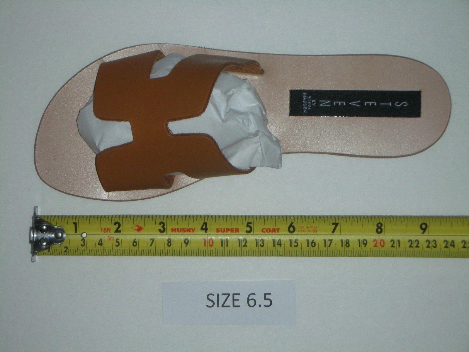 Steven by Steve Madden Greece Flat Sandals Slides Cognac Leather Size 6.5