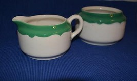 Buffalo China Pottery Green Crest Scroll Cream & Sugar Restaurant Ware - $9.69