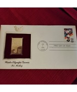 Winter Olympic Games Ice Hockey 1984 First day issue Gold Stamp - $3.71