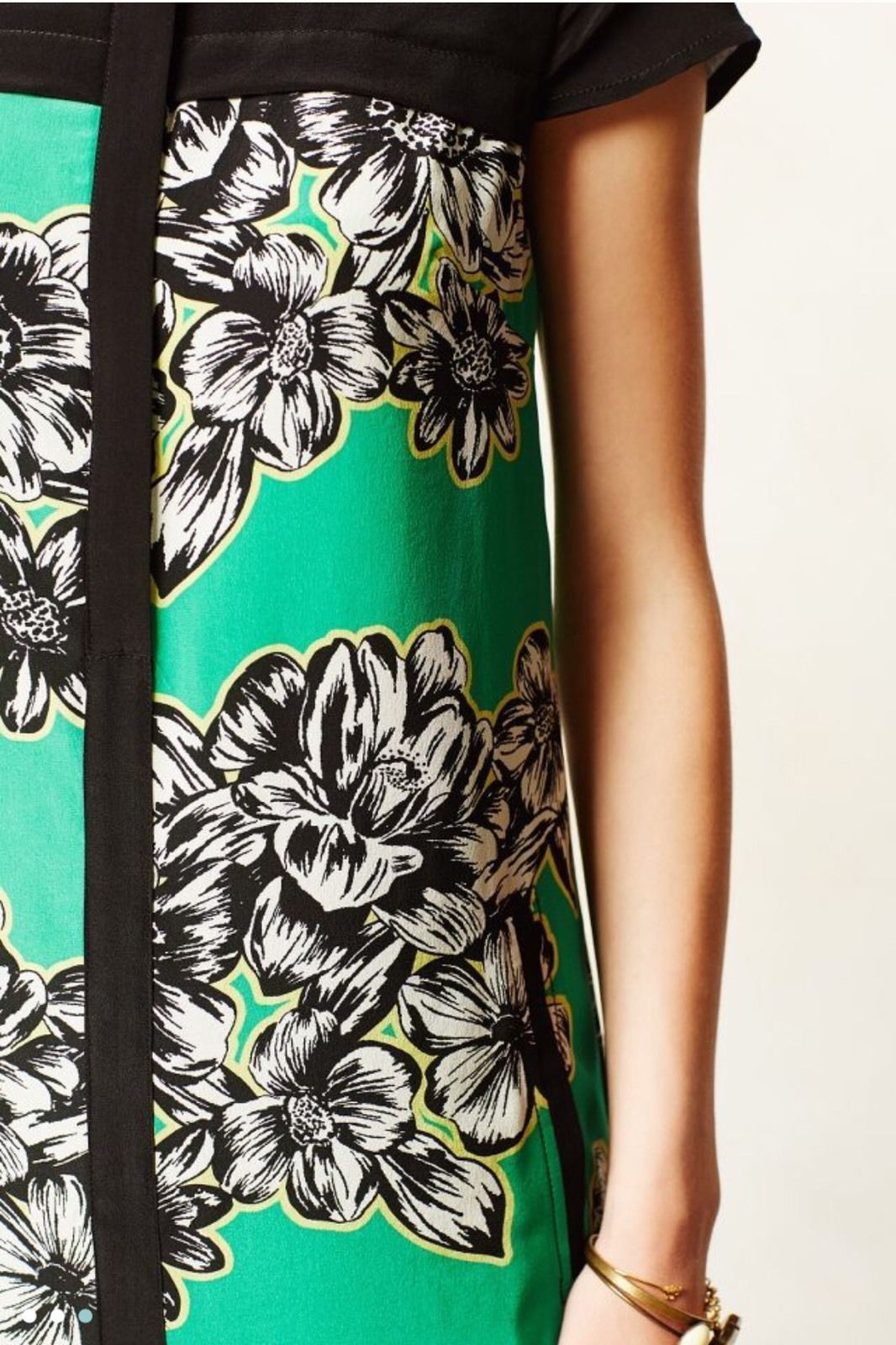 Maeve Anthropologie Green Black Yellow Floral Print Ayame Silk Dress S 4