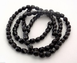 50 4mm Czech Glass Firepolish Beads -- Jet - $1.46