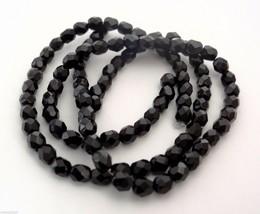 50 4mm Czech Glass Firepolish Beads -- Jet - $1.46