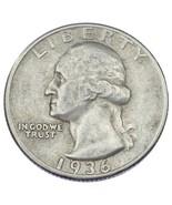 1936-D 25C Washington Quarts en XF État, Couleur Naturelle, Beau Détail - $1.712,66 MXN