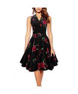 Dress vintage Sleeveless Rose 50s 60s elegant - $52.99