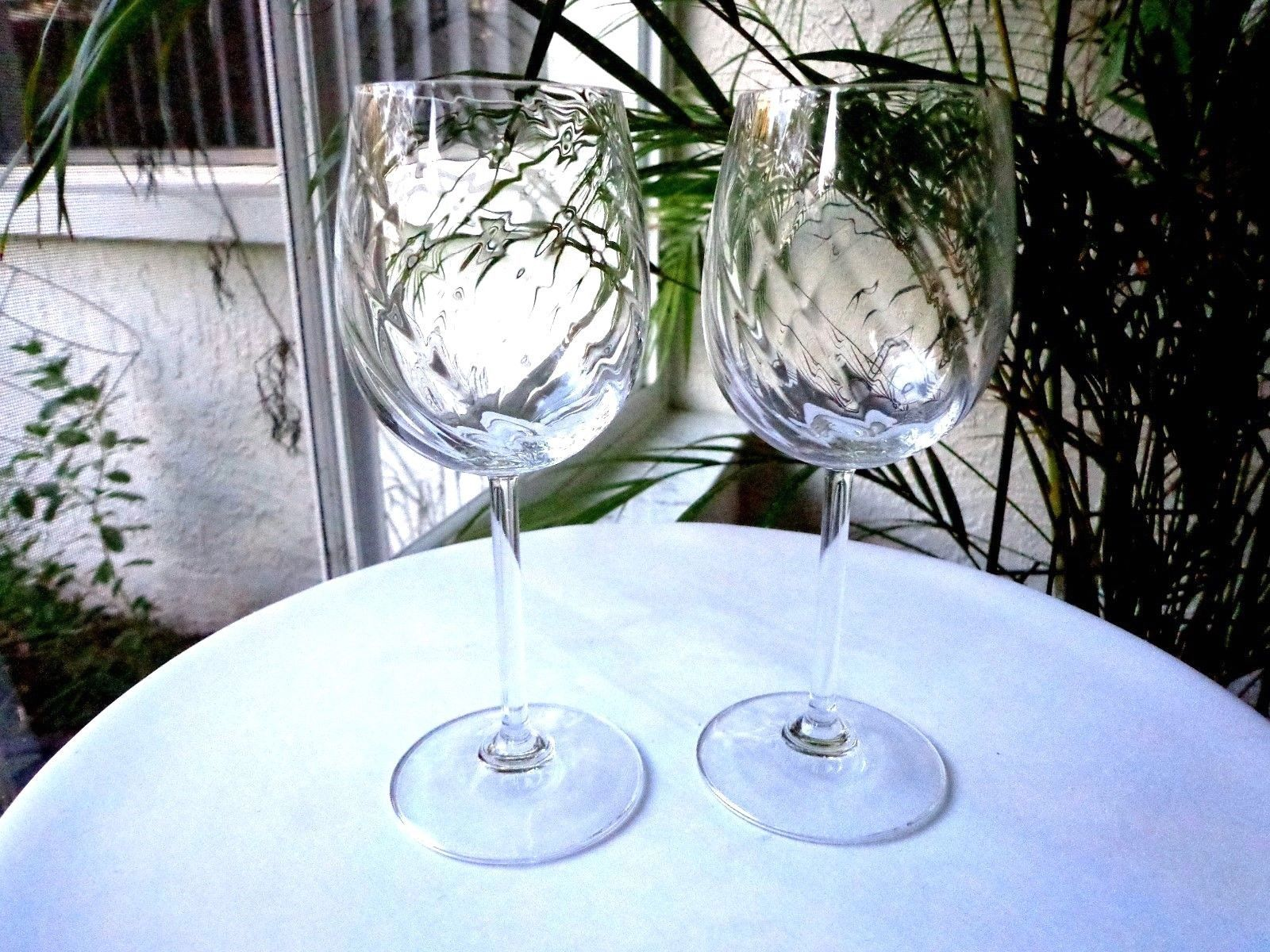 Primary image for Set of 2 High Quality Clear Crystal Swirl Bowl Wine Glasses