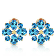 4.85 Carat 14K Solid Gold Fiore Blue Topaz Earrings Natural Gemstone Womens Girl - $534.59