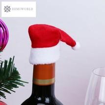 10pcs Santa Claus Hat Red Wine Soft Christmas Bottle Cove Wine Bottle Se... - $4.41