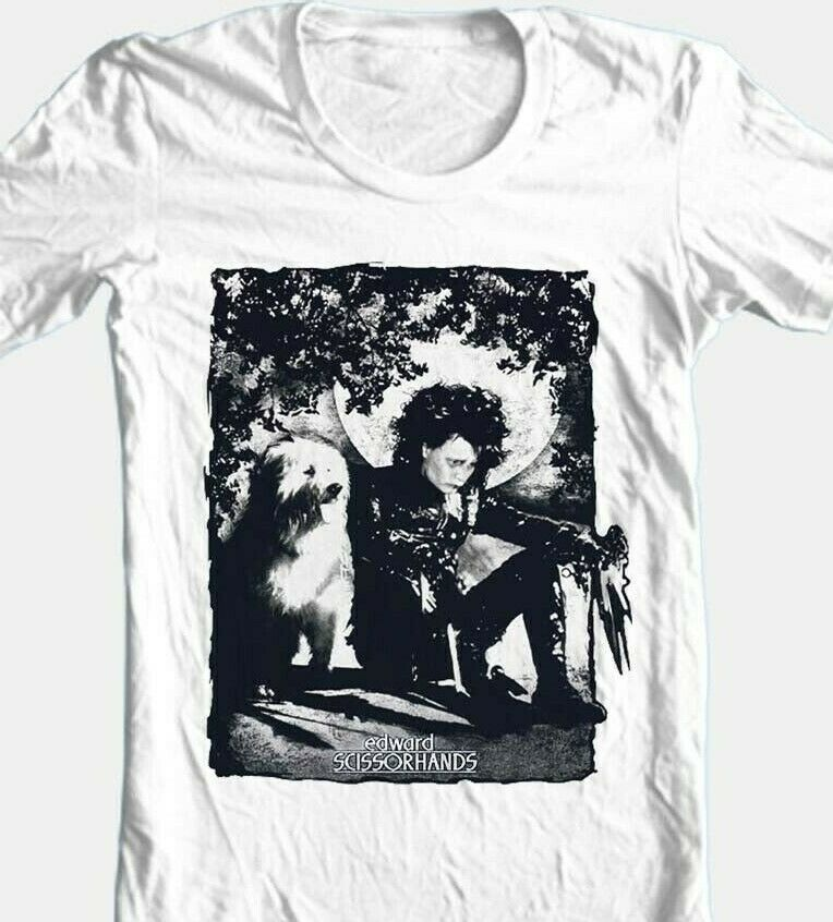 Edward Scissorhands Dog Photo T-shirt retro 90s movie cotton graphic white tee