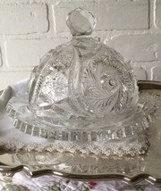Antique Eapg Pinwheel Glass Covered Butter Cheese Dish Glows L Ight Green 3 Mold - $24.74
