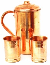 Copper Water 1 Pitcher jug & 2 Glass Set For Drinking Water - $32.03