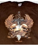 Planet Hollywood Tee Shirt Brown Las Vegas Skulls Sword Size S 100% Cotton - $18.05