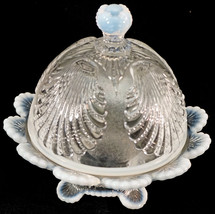 French Opalescent Beaded Shell Mosser Glass Covered Butter Dish - $49.99