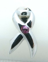 VTG COOKIE LEE Signed Silver Tone Pink Rhinestone Awareness Pin Brooch - $19.80