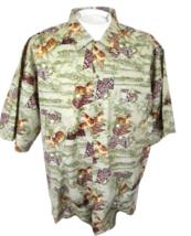 COUNTY SEAT Men Hawaiian ALOHA shirt pit to pit 26 XL cotton tiger vinta... - $18.80