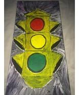 OLD SCHOOL TRAFFIC LIGHT ACRYLIC PAINTING. ARTIST DIRECT! 12X24  MAN CAV... - $94.95