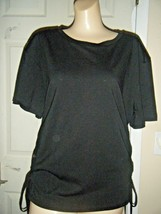 NWT H&M BLACK SHORT SLEEVE w/LACING TOP SIZE L - $16.44