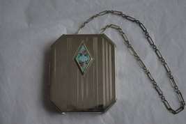 Antique 1920 Art Deco Vanity Compact Guilloche Medallion & Wristlet Chain - $98.99