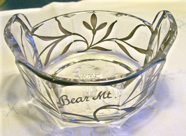 """Westmoreland """"Colonial Lady"""" Silver Overlay Glass Dish Souvenir of Bear Mountain - $30.00"""