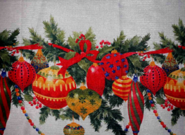 """Christmas Table Cloth Round 72"""" Pearl White with Print of Multi Color Or... - $8.61"""