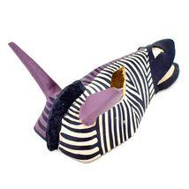 Hand Carved Painted Jacaranda Wood Purple Duotone Zebra Print Giraffe Mask Decor image 3