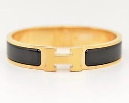 Authentic Hermes 2015 Black Enamel Gold H Clic-Clac Bracelet PM