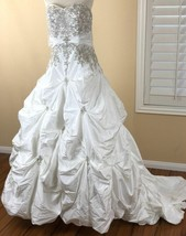 Mori Lee Wedding Dress 14 White Strapless Designer Princess Ball Gown Tr... - $599.00