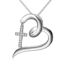 Open Heart Sterling Silver Necklace with Crystal Dangle Cross Pendant Lo... - $70.78