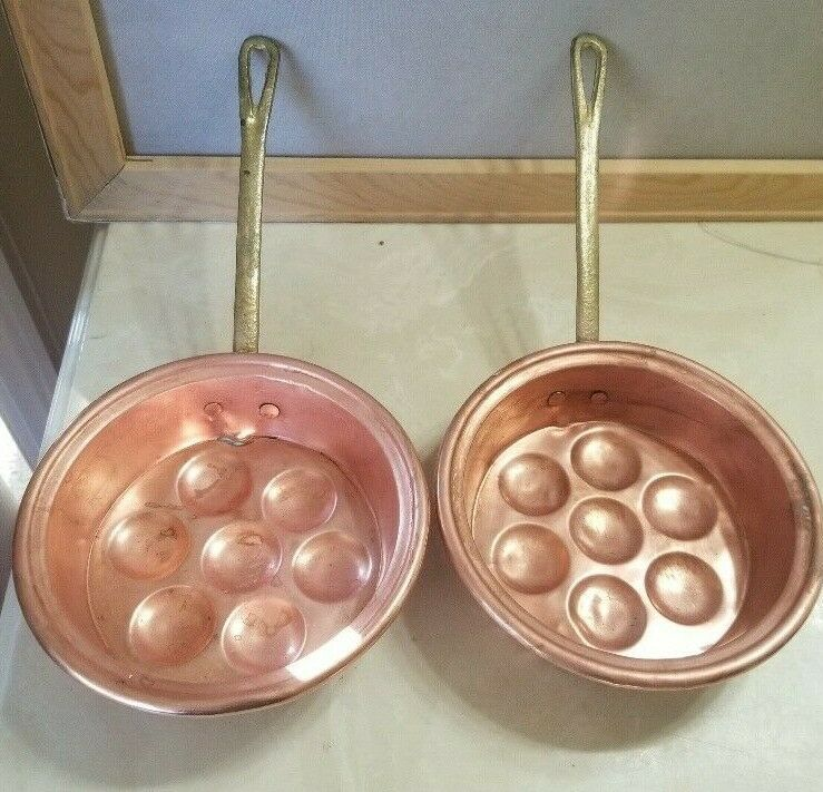 2 Vintage Copper Egg Pans Pots Molds Wall Decor With Brass Handles