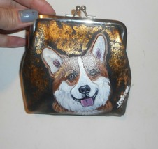 Welsh Corgi dog Hand Painted Coin Purse Mini Clutch wallet Vegan Leather - $27.00