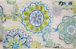 "FLANNEL BACK VINYL TABLECLOTH 60"", ROUND (4-6 ppl) BUTTERFLIES & FLOWERS... - $14.84"