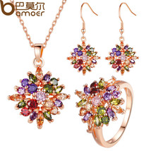 BAMOER Luxury Rose Gold Color Flower Jewelry Sets & More for Women Party... - $33.87