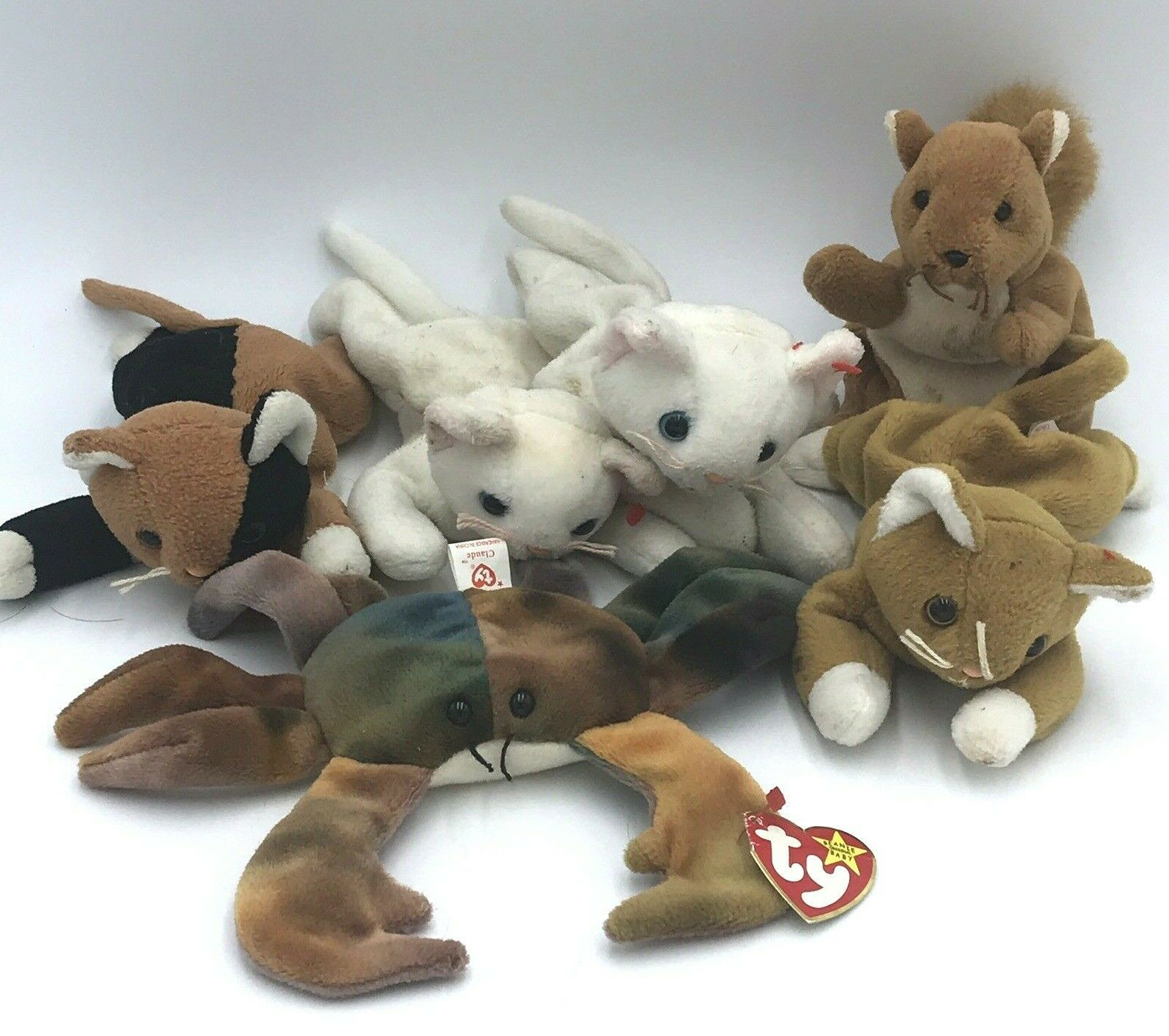 Primary image for 6 Ty Beanie Babies Lot Nip Chip Nuts Claude Flip 1996 1993