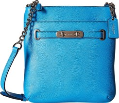 NWT ORIGINAL PACKAGING COACH SWAGGER LEATHER SWINGPACK CROSSBODY BAG AZU... - $94.82