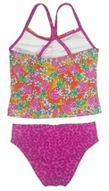 Speedo Girl's Sporty Splice Tankini 2 Piece Swimsuit (16, Pink/Pineapple) NWT image 2