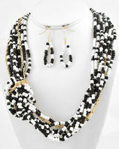 Multi Strand Fashion Bead Necklace & Earring Set In Black and White N3197 - $23.99