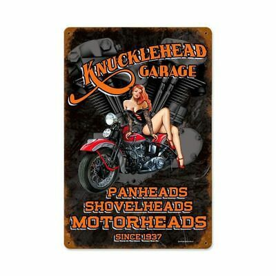 Knucklehead Garage Motorcycle Pin Up Metal Sign