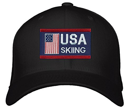 USA Skiing Hat - Adjustable Black Cap - America Winter Olympics Red/White/Blue