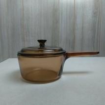 Vintage Visions 1 Liter Saucepan with Lid Corningware  Glass Brown France - $28.70