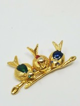 Vtg three birds on a vine brooch pin enamel rhinestones animal gold tone - $24.75